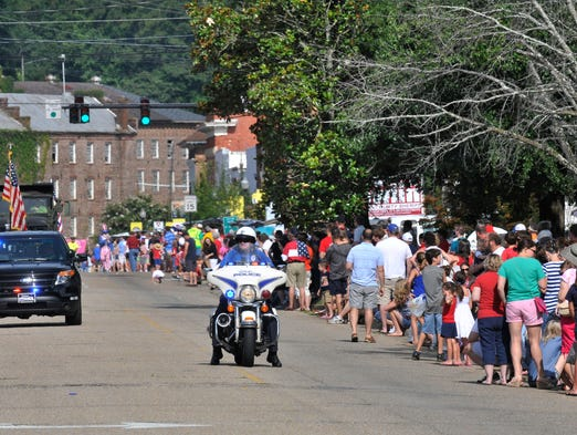 People enjoying the 13th Annual Independence Day Parade in downtown Prattville, Ala., on Friday, July 4, 2014.
