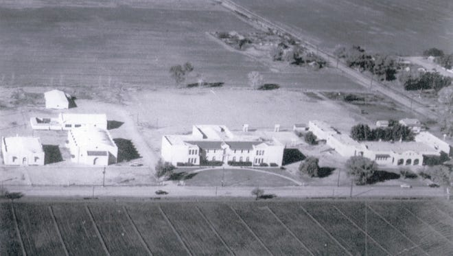 The entire Gilbert school district as it appeared in 1945 consisted of a high school (middle), elementary school (right), school for Mexicans (left), gymnasium, manual arts building and bus barn.