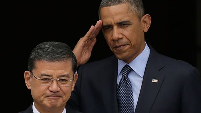 President Obama on Wednesday met at the White House with embattled VA Secretary Eric Shinseki