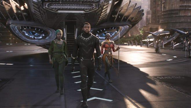 Marvel Studios' 'Black Panther.' From left, Nakia (Lupita Nyong'o), T'Challa/Black Panther (Chadwick Boseman) and Okoye (Danai Gurira).