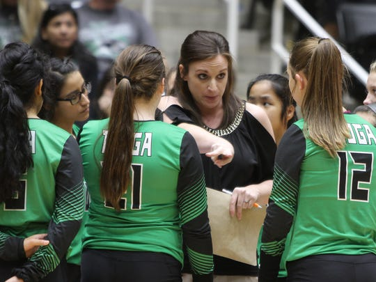 Tiago Head Volleyball Coach Mindy Patton, Windthorst and Midwestern State graduate, talks to her players during a timeout in the 1A state championship final Thursday, Nov. 17, 2016, at the Curtis Culwell Center in Garland. The Lady Bulldogs won in five sets against Bronte to become the 1A State Volleyball Champions.