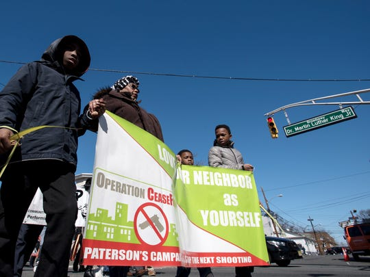 Ceasefire Paterson Prayer March on Broadway on Saturday, March 24, 2018.