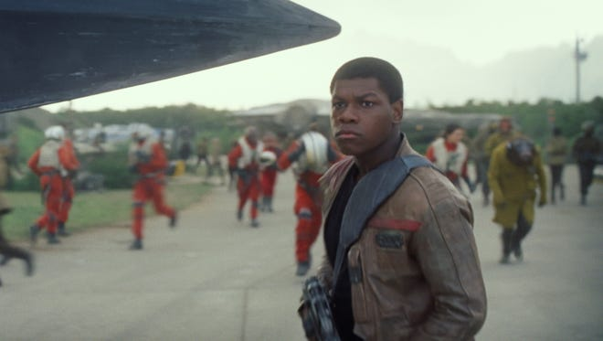 "Finn (John Boyega) and the Resistance are ready for battle in ""Star Wars: The Force Awakens."""