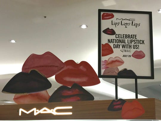 Participating MAC cosmetics stores and counters are celebrating National Lipstick Day and its Lips Lips Lips line by giving away free, full-size lipsticks Saturday.