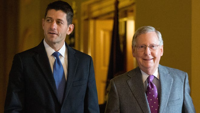 House Speaker Paul Ryan, R-Wis., left, with Senate Majority Leader Mitch McConnell, R-Ky.