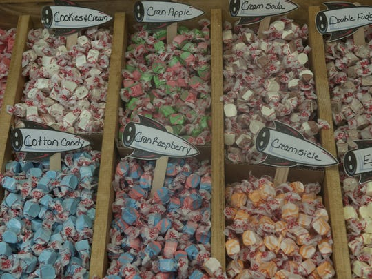 A selection of the more than 50 flavors of salt water taffy available at the new Rocket Fizz store in Westmont.