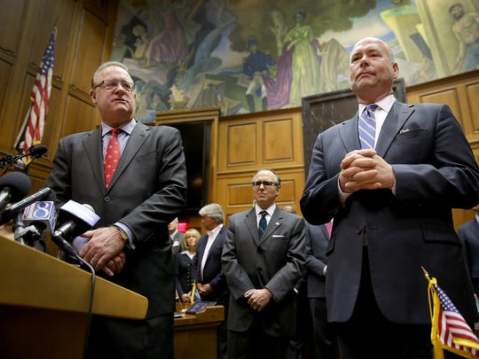 "Indiana House Speaker Brian Bosma (right) and Senate President Pro Tem David Long address the media at the Statehouse on April 2, 2015, saying lawmakers will present a ""fix"" to the Religious Freedom Restoration Act."