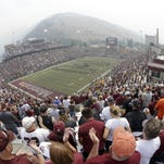 Montana's band performs before the start of their NCAA college football game against North Dakota State Saturday, Aug. 29, 2015, in Missoula, Mont. (AP Photo/Rick Bowmer)