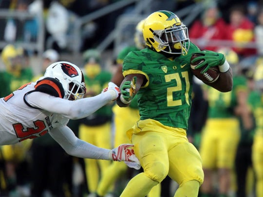 Oregon's Royce Freeman ran for 167 yards and two touchdowns in last year's Civil War.