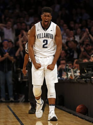 Villanova Wildcats forward Kris Jenkins reacts against the Creighton Bluejays during the first half of the Big East Conference Tournament final game at Madison Square Garden.