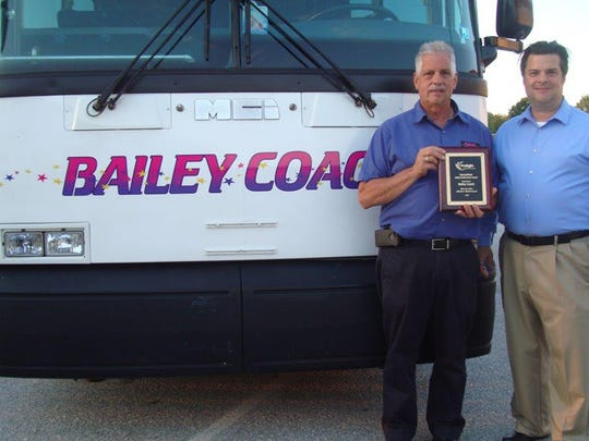 """John W. Bailey,president ofBailey Coach,left, accepts the """"Best in Class"""" awardfromJim Davis, secure fleet manager atProsight Insurance, during adriver safety meeting onAug.29."""