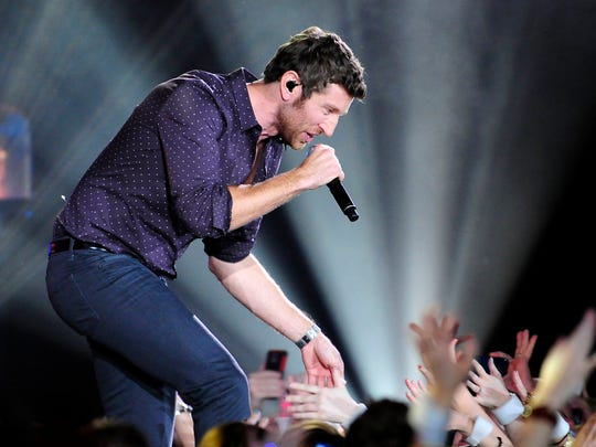 Brett Eldredge performs on stage during the American Country Countdown Awards show.