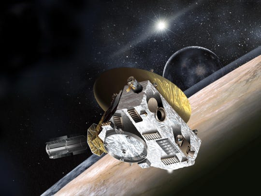 An artist's concept of the New Horizons spacecraft during its glancing kiss with Pluto and Charon, Pluto's largest moon. By studying Pluto, scientists seek a glimpse into planet formation.