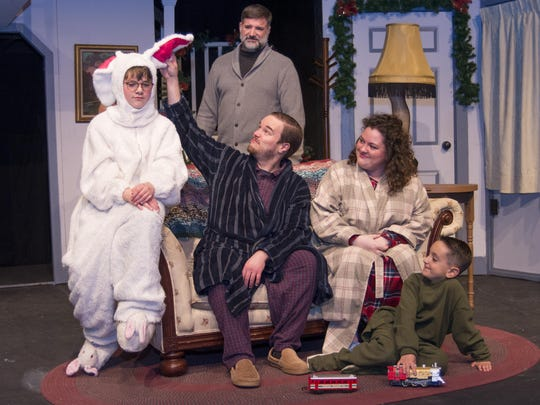 "Jamie Cornell; middle left to right. Michael Medina, Ron Harris and Kerry Kane; and at front, Kaelen Brown starred in the Ti-Ahwaga Community Players production of ""A Christmas Story"" in December of 2017."