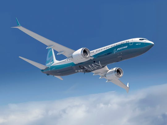 Boeing 737 MAX in flight.
