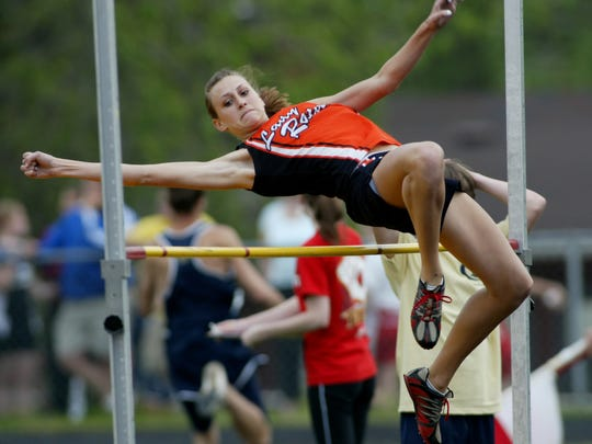 Ryle's Alyssa Frank, who clears the high jump here