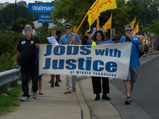 Marchers called for a $15 minimum wage and what they consider basic rights and benefits on the job.