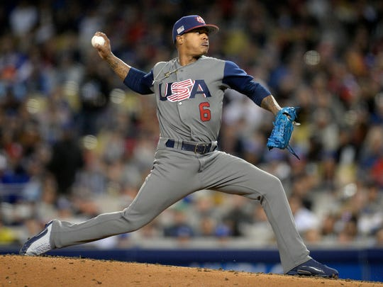 USA pitcher Marcus Stroman (6) throws in the fourth inning against Puerto Rico during the 2017 World Baseball Classic at Dodger Stadium.