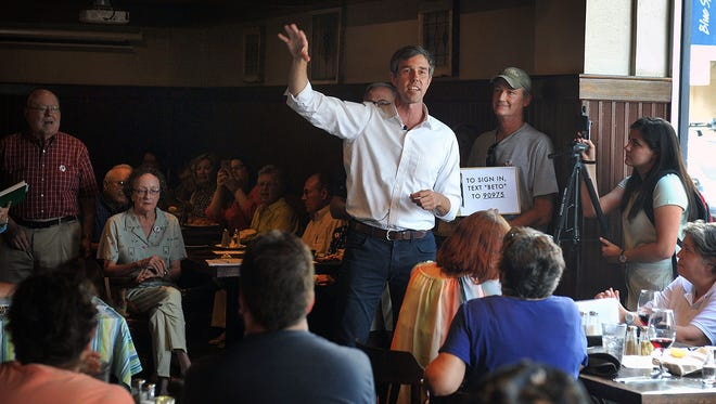 U.S. Congressman Beto O'Rourke, a Democrat from El Paso, speaks to supporters Thursday evening at Highlander Public House about his bid for the U.S. Senate.