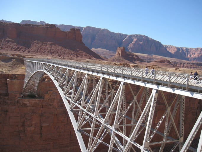 When Navajo Bridge was completed it was the highest steel arch bridge in the world.