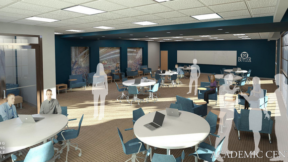 A rendering of the new academic center inside Hinkle Fieldhouse coming this fall.
