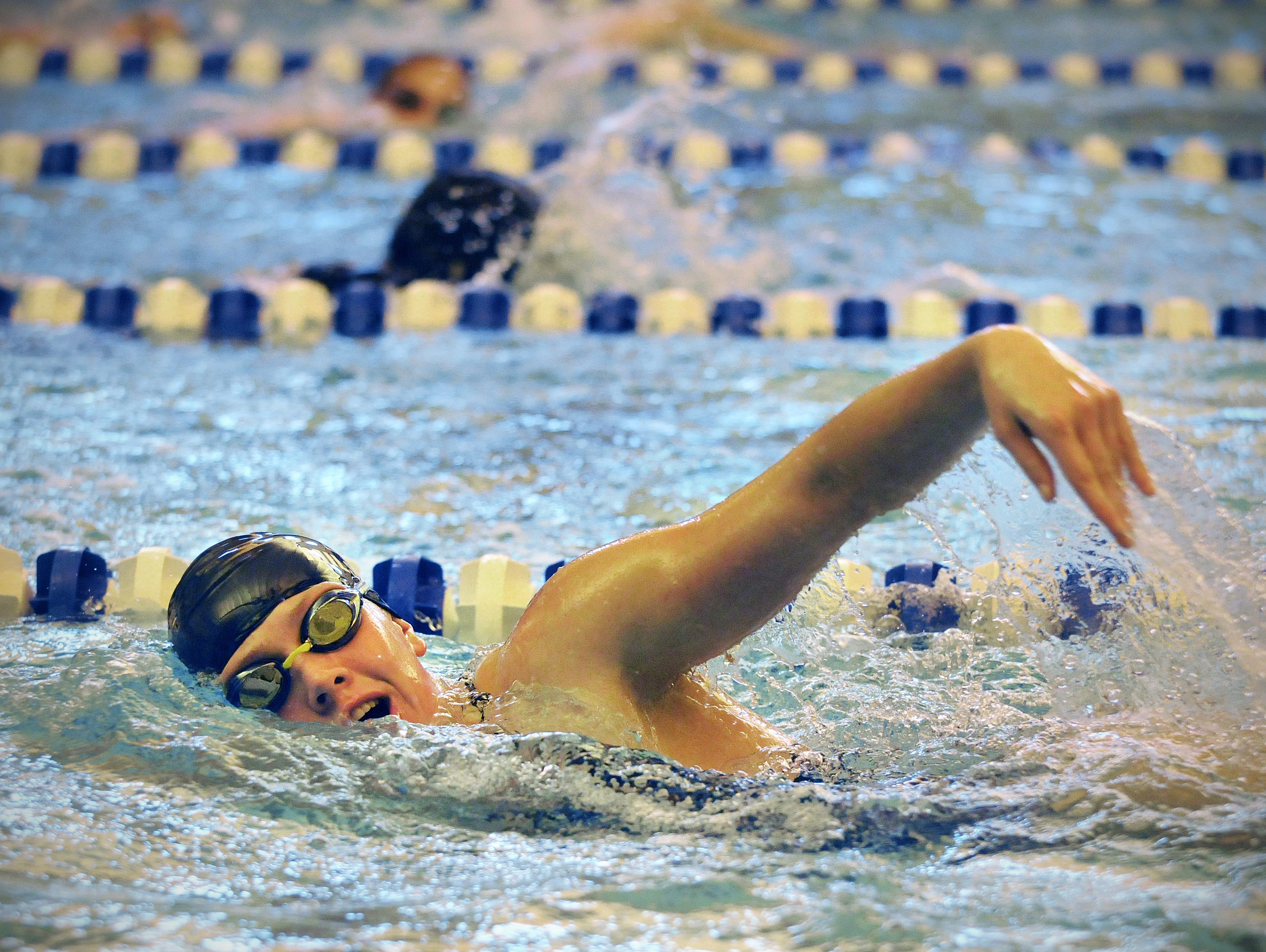 Briana Sanchez, bsanchez@stcloudtimes.com Foley High School swimmer Kasey Milstroh swims laps on Monday at the Foley High School pool during practice. Foley High School swimmer Kasey Milstroch swims laps on Monday, Sept. 28., at Foley High School pool during practice.