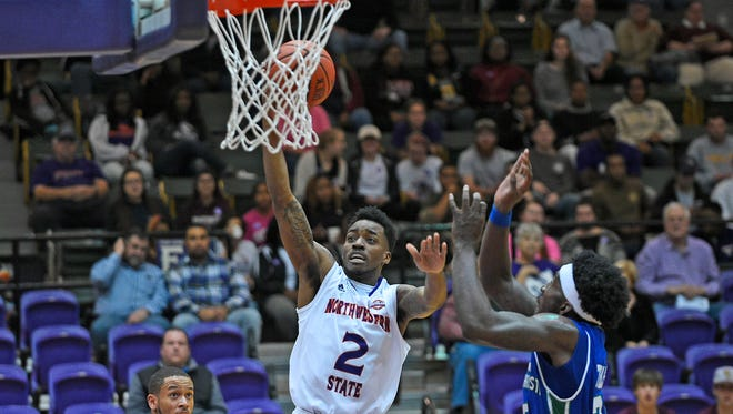 Northwestern State's Ta'Jon Welcome goes up for a shot during Tuesday's game.