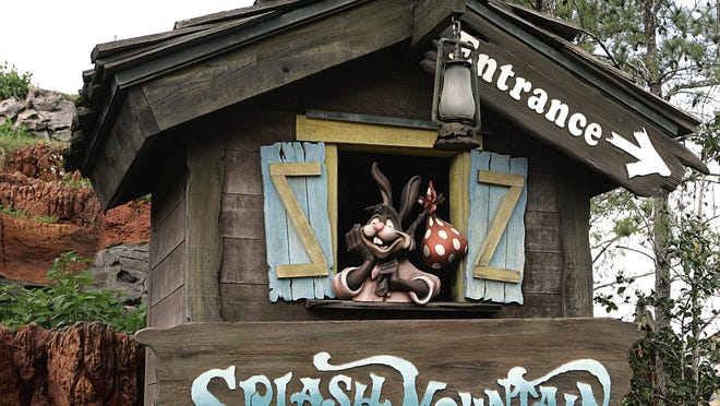 "In this March 21, 2007 file photo, the character Brer Rabbit, from the movie, ""Song of the South,"" is depicted near the entrance to the Splash Mountain ride in the Magic Kingdom at Walt Disney World in Lake Buena Vista. The Splash Mountain ride at Disney parks in California and Florida is being recast. Disney officials said the ride would no longer be tied to the 1946 movie, ""Song of the South,"" which many view as racist. Instead, the revamped ride will be inspired by the 2009 Disney film, ""The Princess and the Frog,"" which has an African-American female lead."