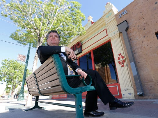 "William ""Billy"" Abraham sits in front of the former Chinese laundry building at 212 W. Overland Ave. in Downtown El Paso."