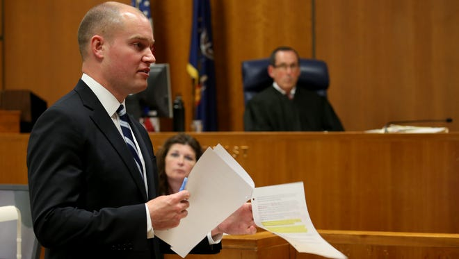 Assistant District Attorney Matt McGrath finishes his opening statement to the jury by asking them to focus of the facts that surround the eight seconds of gunfire on Aug. 19, 2015.