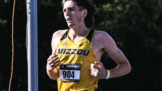 Missouri freshman William Sinclair crosses the finish line during the Commodore Classic on Sept. 19 in Nashville, Tenn.