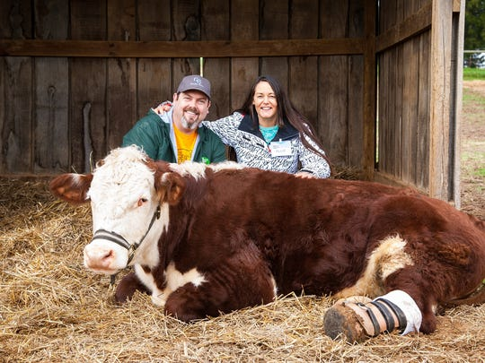 Gentle Barn co-founders Jay Weiner and Ellie Laks pose