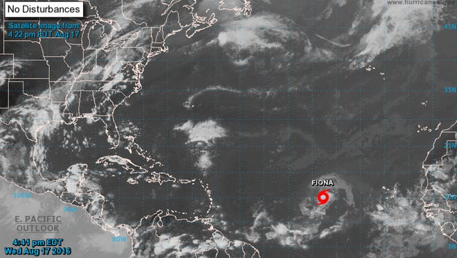 Tropical Storm Fiona formed Wednesday, August 17, 2016 in the central Atlantic Ocean.