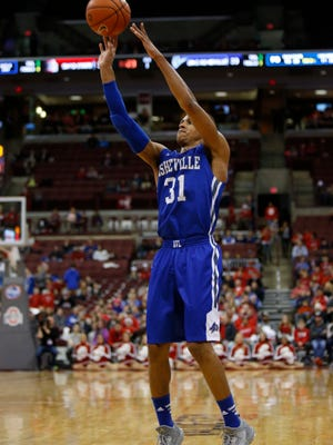 UNC Asheville guard MaCio Teague goes up for a shot against Ohio State on Dec. 22. Teague scored 16 points Saturday against High Point.