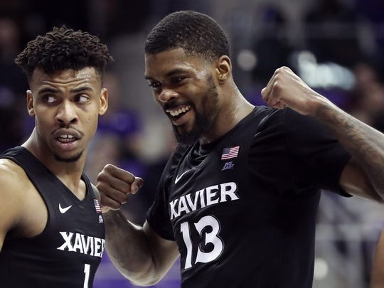 Dec 22, 2019; Fort Worth, Texas, USA;  Xavier Musketeers forward Naji Marshall (13) and guard Paul Scruggs (1) react during the second half against the TCU Horned Frogs at Ed and Rae Schollmaier Arena. Mandatory Credit: Kevin Jairaj-USA TODAY Sports