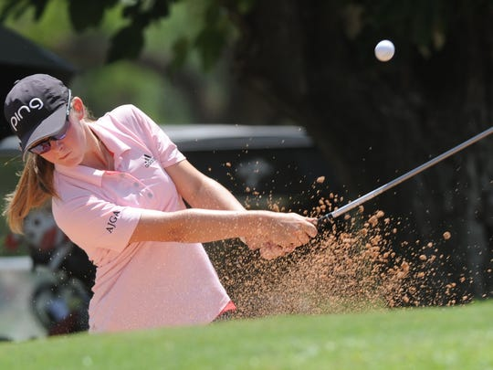 San Angelo's Ryann Honea hits out of the bunker at 16 during the final round of the AJGA Folds of Honor Junior Championship hosted by Bob Estes on Thursday, July 19, 2018 at the Abilene Country Club's Club Course. Honea, who will be a freshman at San Angelo Central in the fall, shot a final-round 78 to finish eighth with a 218.