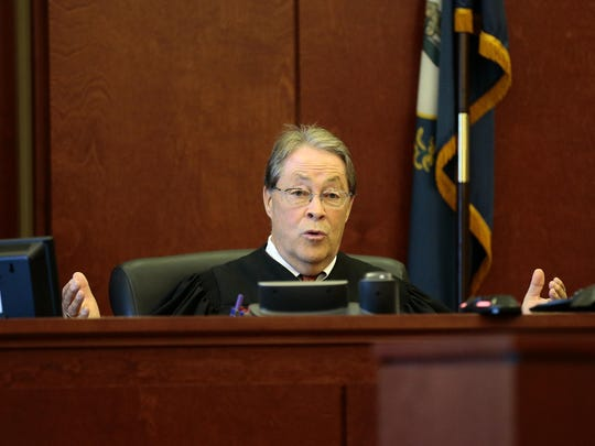 Judge Fred Stine responds to the prosecution in his courtroom at the Campbell County Courthouse in Newport, Ky., on Tuesday, Aug. 30, 2016.