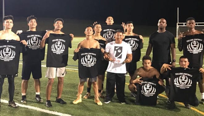 Seniors who participated on the college showcase and combine on day three on Nov. 15, 2017 at Guam High.