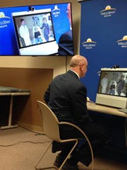 Dr. John Mingle, a neurologist with WellSpan Neurology, leads a demonstration of WellSpan Health's Telestroke program, using videoconferencing technology to consult remotely with physicians and patients who may have experienced a stroke.