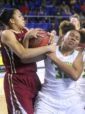 Riverdale's Binae Alexander and Memphis Central's Brittney Ivory fight for the ball during the championship game of the Class AAA State Tournament on Saturday, March 11, 2017.
