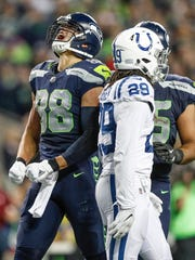 Seattle Seahawks tight end Jimmy Graham (88) celebrates