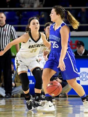Dresden's Lakin Overton guards Summertown's Kylie Rossman during the 2018 Class A quarterfinals, Thursday, March 8, in Murfreesboro.