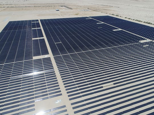 Solar panels generate electricity at the 50-megawatt Seville solar farm at Allegretti Ranch, in western Imperial County off Highway 78.