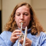 Kayla Slavik performs with the Great Falls High School band.