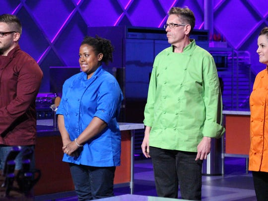 """Marlboro High School graduate Steven Weiss, green jacket, stands with other contestants in an upcoming episode of the Food Network's """"King of Cones."""""""