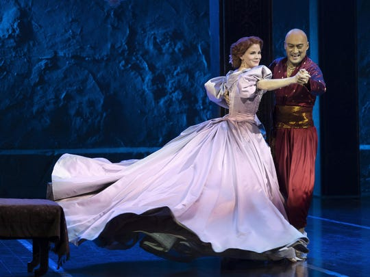 "Kelli O'Hara and Ken Watanabe dance in ""The King and"