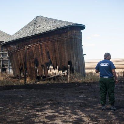 Vaughn Fire Chief Jason McAllister surveys damage and