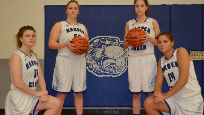 The 2017-18 Harper Creek girls basketball team features returning players, from left, Megan Hicks, Kalli Sackrider, Faith Hayes and Maddie Alexander.