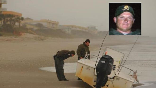 Inset: Lloyd Chamberlain, 38. The boat believed to be from a missing boater was found washed ashore in Indian Harbour Beach on Monday morning behind the Oceanique Resort. The Coast Guard is searching for the missing boater. FWC officers guard the boat.