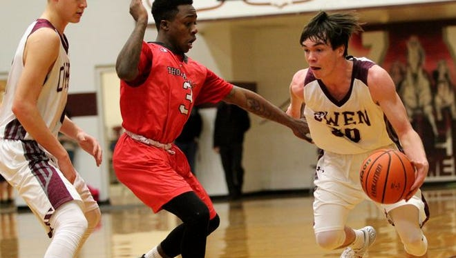 Ben Craig (30) and Owen beat Thomasville, 73-59, in Tuesday's first round of the NCHSAA 2-A boys basketball playoffs.